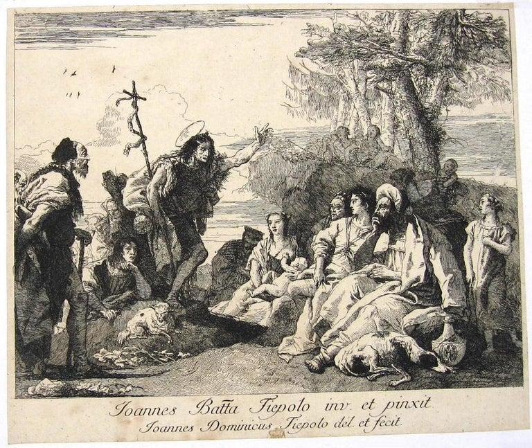 Giovanni Domenico Tiepolo Figurative Print - La Predicazione di S. Giovanni Battista - Etching by Tiepolo - 18th Century