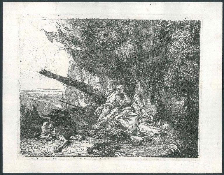 Giovanni Domenico Tiepolo Figurative Print - La Sacra Famiglia Riposa sotto un Abete