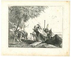 Maria viene aiutata da un Angelo - Etching by G.D. Tiepolo - 1753