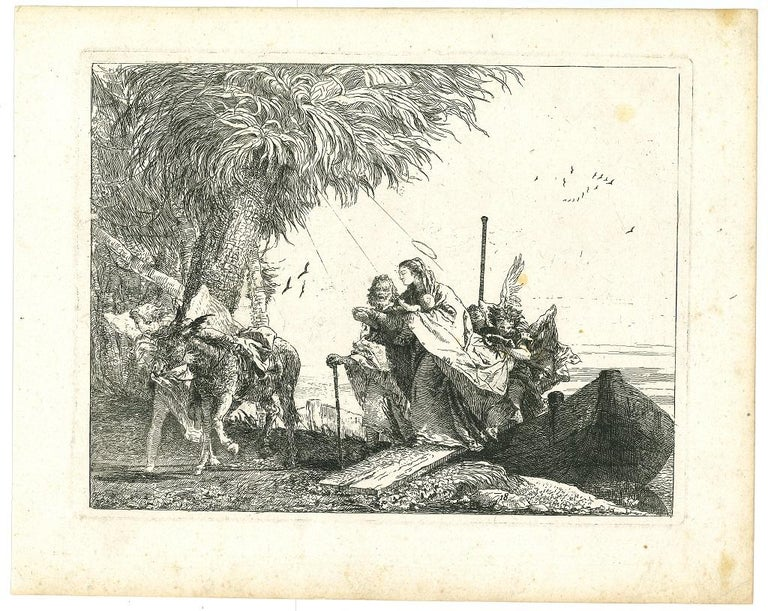 Giovanni Domenico Tiepolo Figurative Print - Maria viene aiutata da un Angelo - Etching by G.D. Tiepolo - 1753