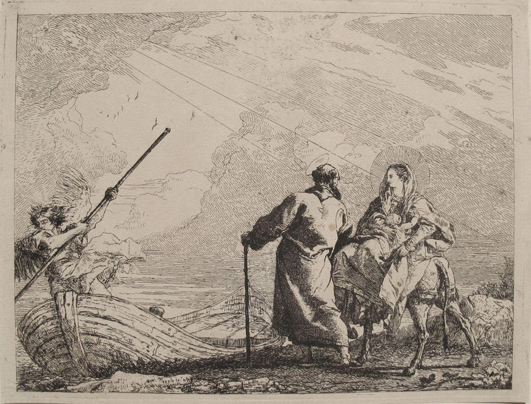 Giovanni Domenico Tiepolo Landscape Print - The Holy Family at the Bank of the River