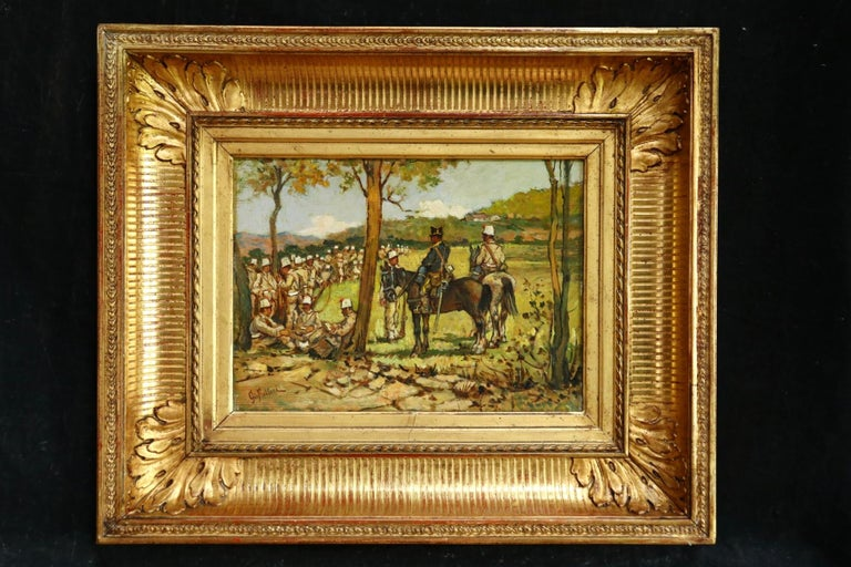 A wonderful oil on panel circa 1870 by Italian painter Giovanni Fattori depicting soldiers seated and on horseback resting in a landscape. An exceptional example of the work of Giovanni Fattori one of the leading painters in Italy's Macchiaioli