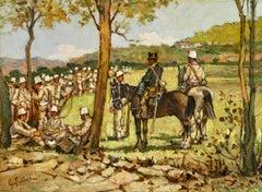 Soldati a riposo - 19th Century Macchiaioli Impressionist Oil - Giovanni Fattori