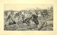 Cavalry - Original Etching on Paper by Giovanni Fattori - 1889