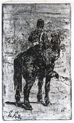 Gunner Riding - Original Etching by Giovanni Fattori - 1900 ca.