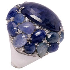 Giovanni Ferraris 18 Karat Gold, 43.8 Carat Blue Sapphire and Diamond Dome Ring