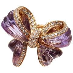 Giovanni Ferraris Italian Amethyst Diamond Gold Bow Ring