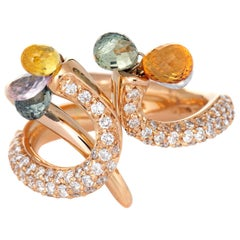 Giovanni Ferraris Pavé Diamond Band Rainbow Sapphires 18 Karat Rose Gold Estate