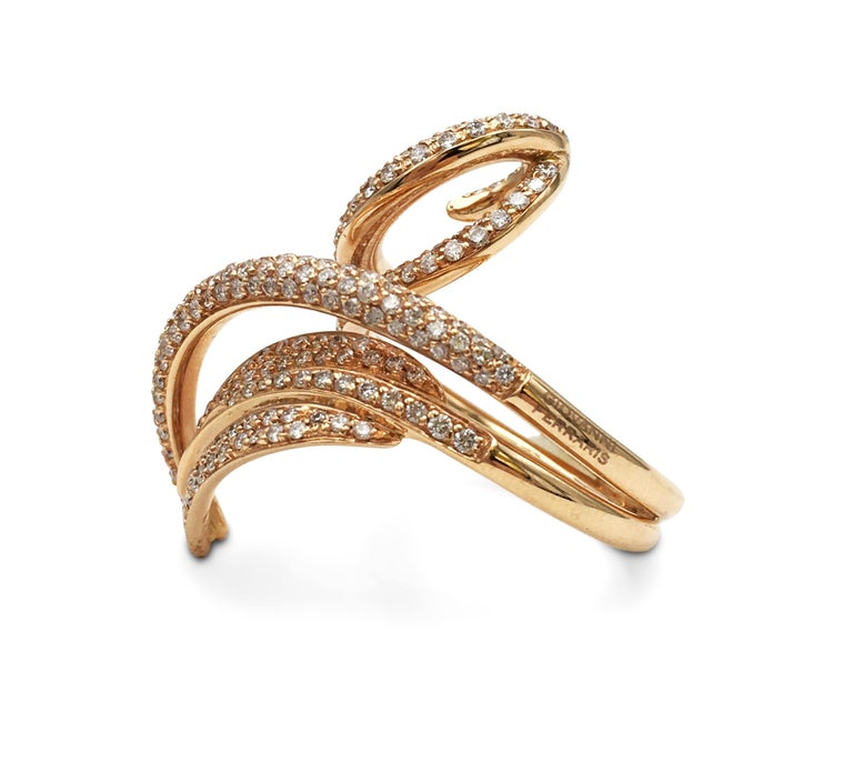 Round Cut Giovanni Ferraris Rose Gold and Diamond Ring For Sale