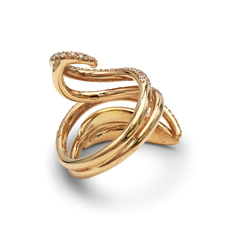 Giovanni Ferraris Rose Gold and Diamond Ring In Excellent Condition For Sale In New York, NY