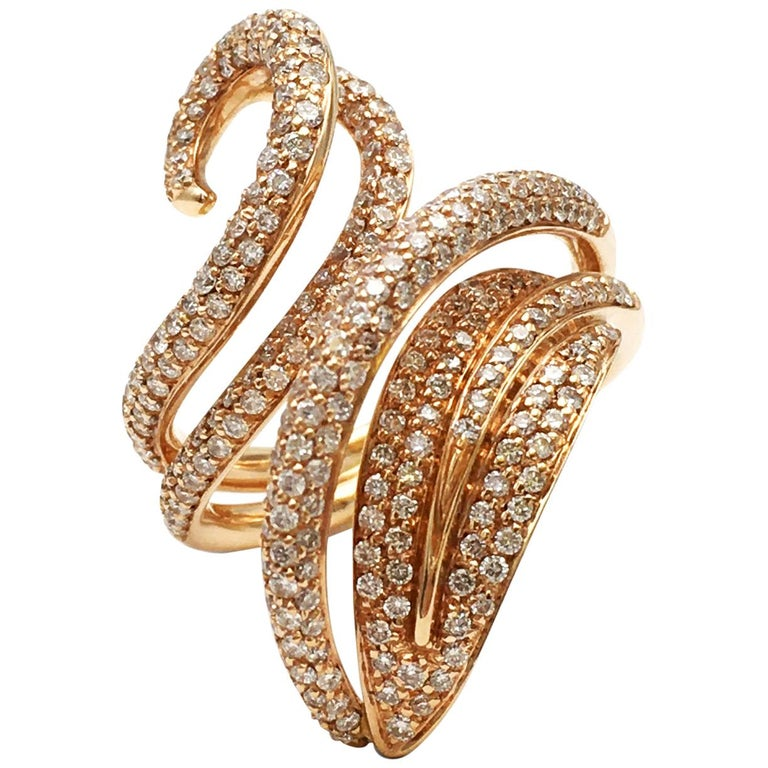Giovanni Ferraris Rose Gold and Diamond Ring For Sale