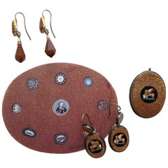 Giovanni Franchini Glass and Silver Micro-Mosaic Set of Earrings and a Pendant