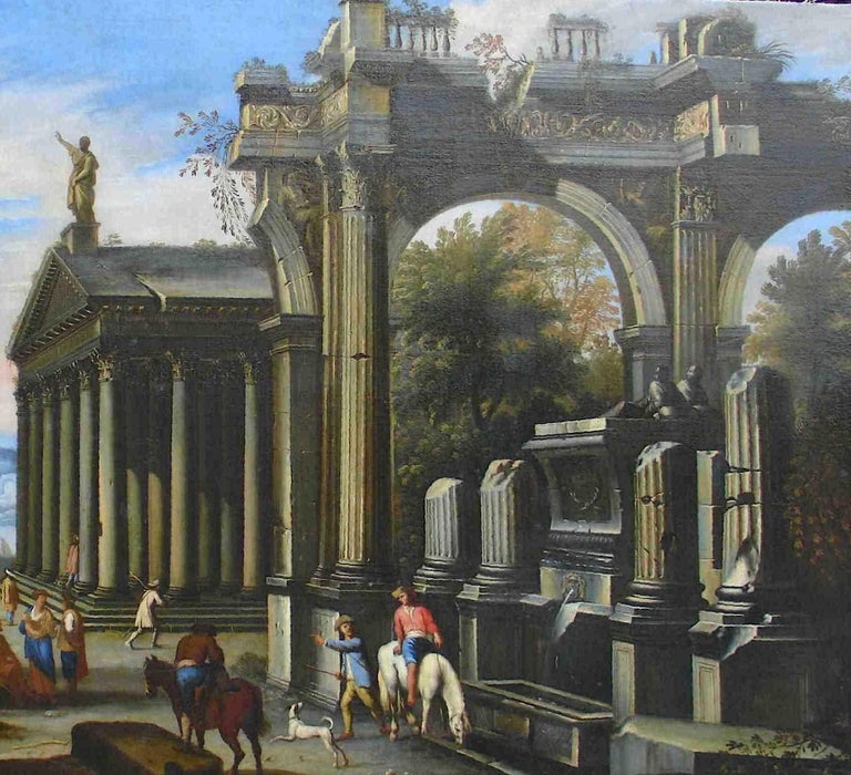Capriccio - 17th Century Oil on Canvas Classical Architectural Ruins Painting  12