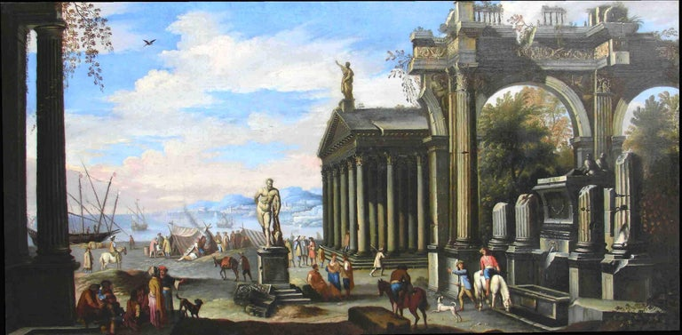 Capriccio - 17th Century Oil on Canvas Classical Architectural Ruins Painting  - Brown Landscape Painting by Giovanni Ghisolfi