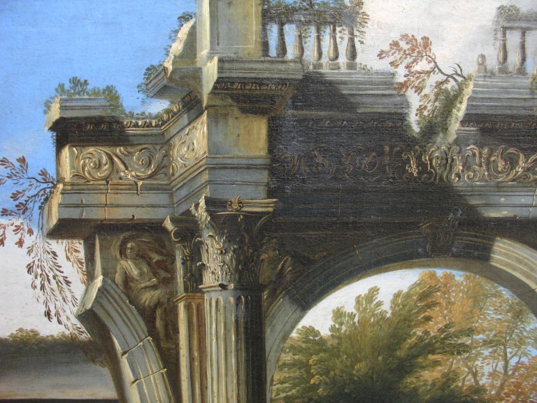 Capriccio - 17th Century Oil on Canvas Classical Architectural Ruins Painting  1