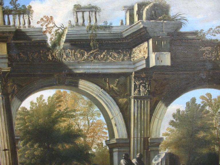 Capriccio - 17th Century Oil on Canvas Classical Architectural Ruins Painting  For Sale 2