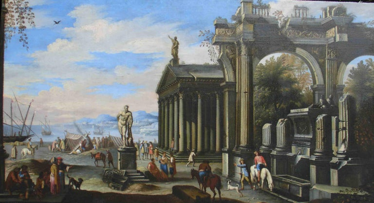 Capriccio - 17th Century Oil on Canvas Classical Architectural Ruins Painting  For Sale 4