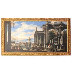 Capriccio - 17th Century Oil on Canvas Classical Architectural Ruins Painting