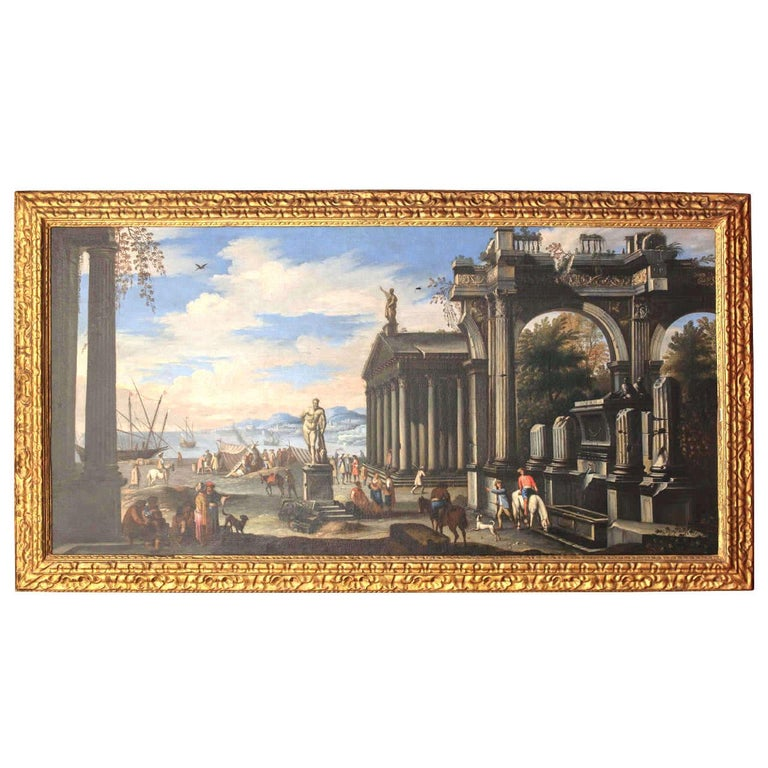 Capriccio - 17th Century Oil on Canvas Classical Architectural Ruins Painting  - Brown Figurative Painting by Giovanni Ghisolfi