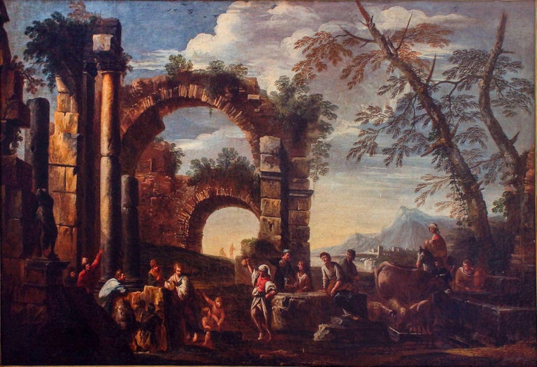 Roman Ruins with Figures - Original Oil On Canvas by Giovanni Ghisolfi For Sale 2