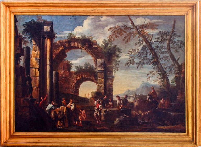 Roman Ruins with Figures is an original artwork realized by the Italian artist Giovanni Ghisolfi in the second half of the XVII century.  Oil painting on canvas.  Golden wood frame included.  Very interesting artwork representing a view on the old