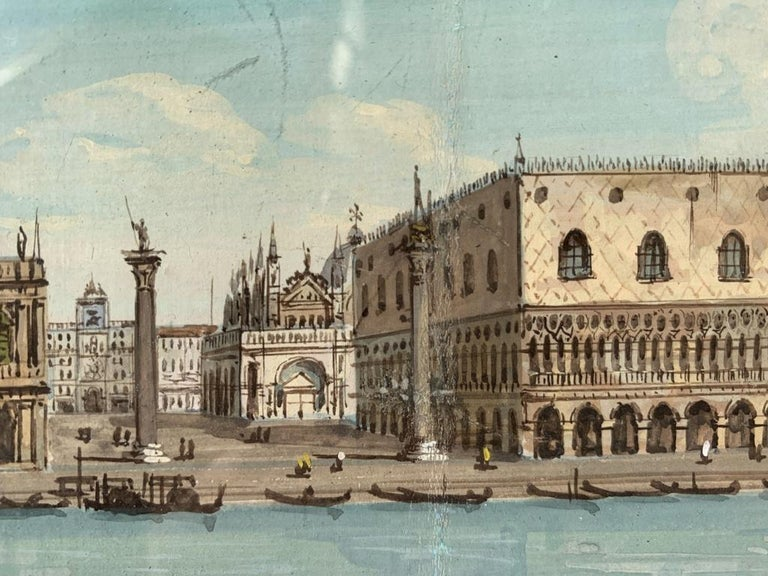 19th century Venetian painting - View Venice - Gouache on paper Grubacs Italy For Sale 6