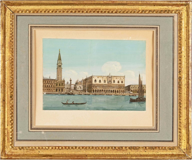 19th century Venetian painting - View Venice - Gouache on paper Grubacs Italy - Painting by Giovanni Grubacs