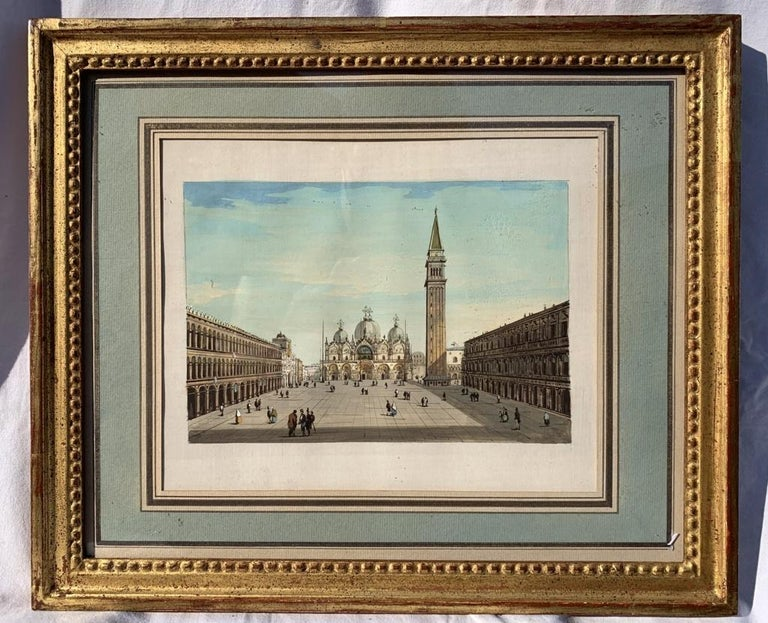 19th century Venetian painting - View Venice - Gouache on paper Grubacs Italy - Realist Painting by Giovanni Grubacs