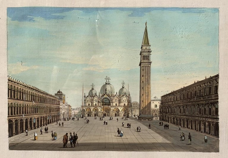 19th century Venetian painting - View Venice - Gouache on paper Grubacs Italy - Beige Landscape Painting by Giovanni Grubacs