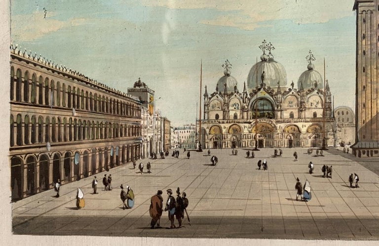 Giovanni Grubacs (Venice 1829 - Pola 1919) - View of St. Mark's Square in Venice.   Tempera on paper, in wooden frame.   Condition report: Good state of conservation of the paper support and the painted surface.   14 x 20.5 cm. 31.5 x 38 cm with