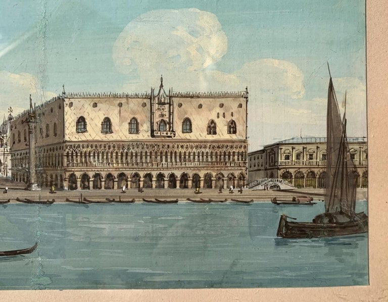 19th century Venetian painting - View Venice - Gouache on paper Grubacs Italy For Sale 1