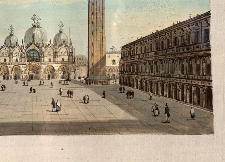 19th century Venetian painting - View Venice - Gouache on paper Grubacs Italy For Sale 2