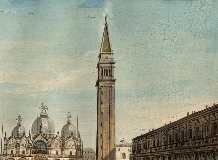 19th century Venetian painting - View Venice - Gouache on paper Grubacs Italy For Sale 3