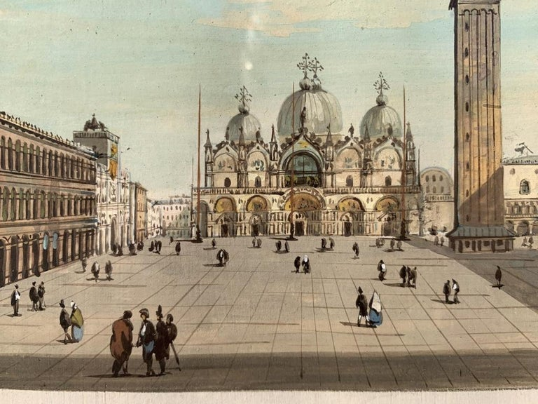19th century Venetian painting - View Venice - Gouache on paper Grubacs Italy For Sale 4