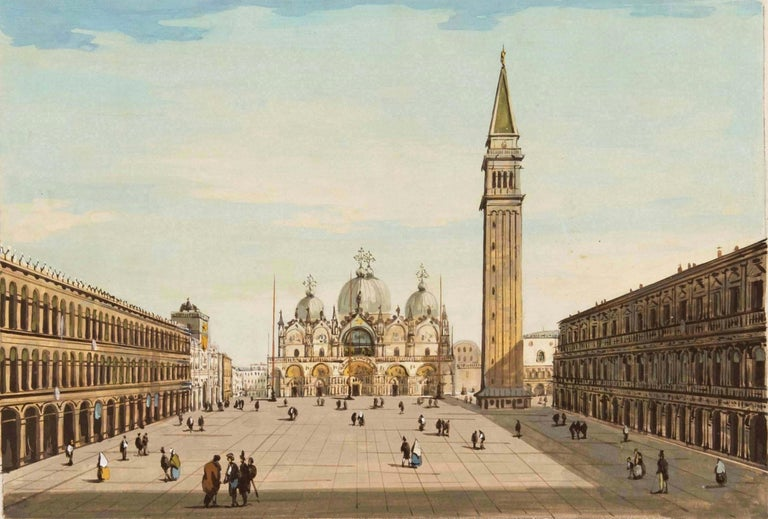 Giovanni Grubacs Landscape Painting - 19th century Venetian painting - View Venice - Gouache on paper Grubacs Italy