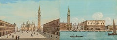 Pair of 19th century Venetian painting - View Venice - Gouache on paper Grubacs