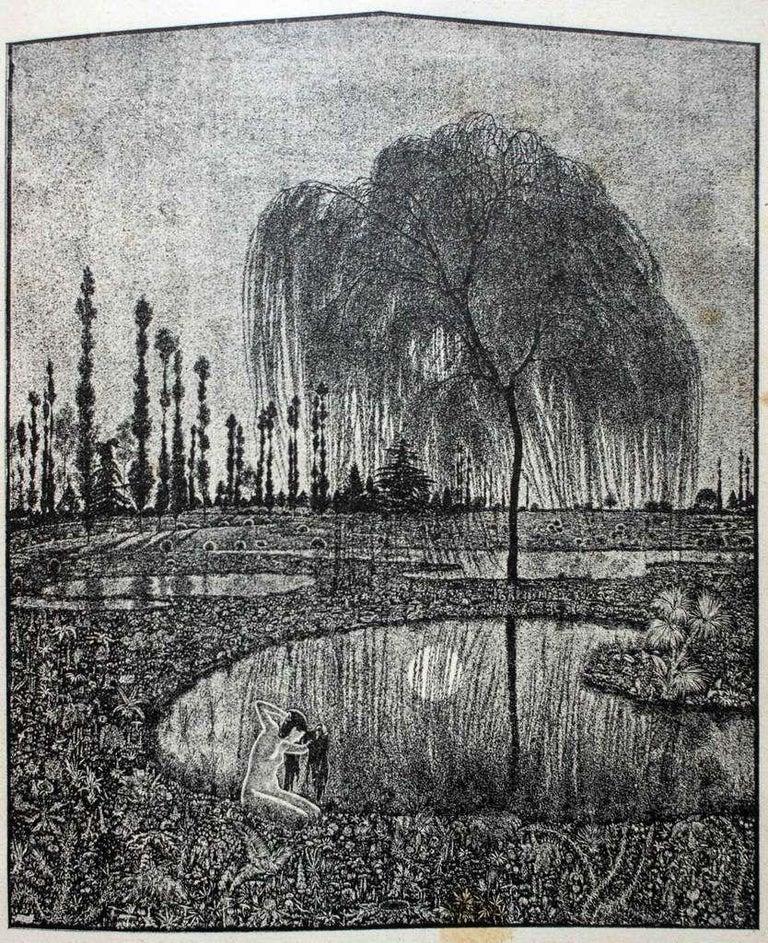 Giovanni Guerrini Landscape Print - Specchio (Mirror) - Original Woodcut on Paper by G.Guerrini - Early 20th Century