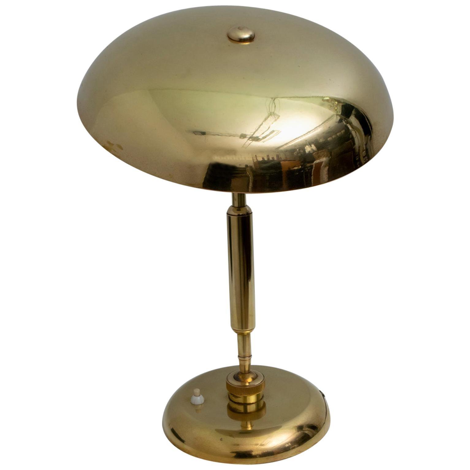 "Giovanni Michelucci Midcentury Italian Adjustable Brass Table Lamp ""Lariolux"""