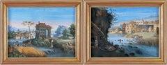 Pair of 19th century Italian ruins paintings - Landscapes - Tempera Migliara
