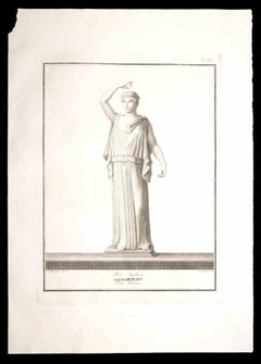 Ancient Roman Statue - Original Etching by Giovanni Morghen - 18th Century
