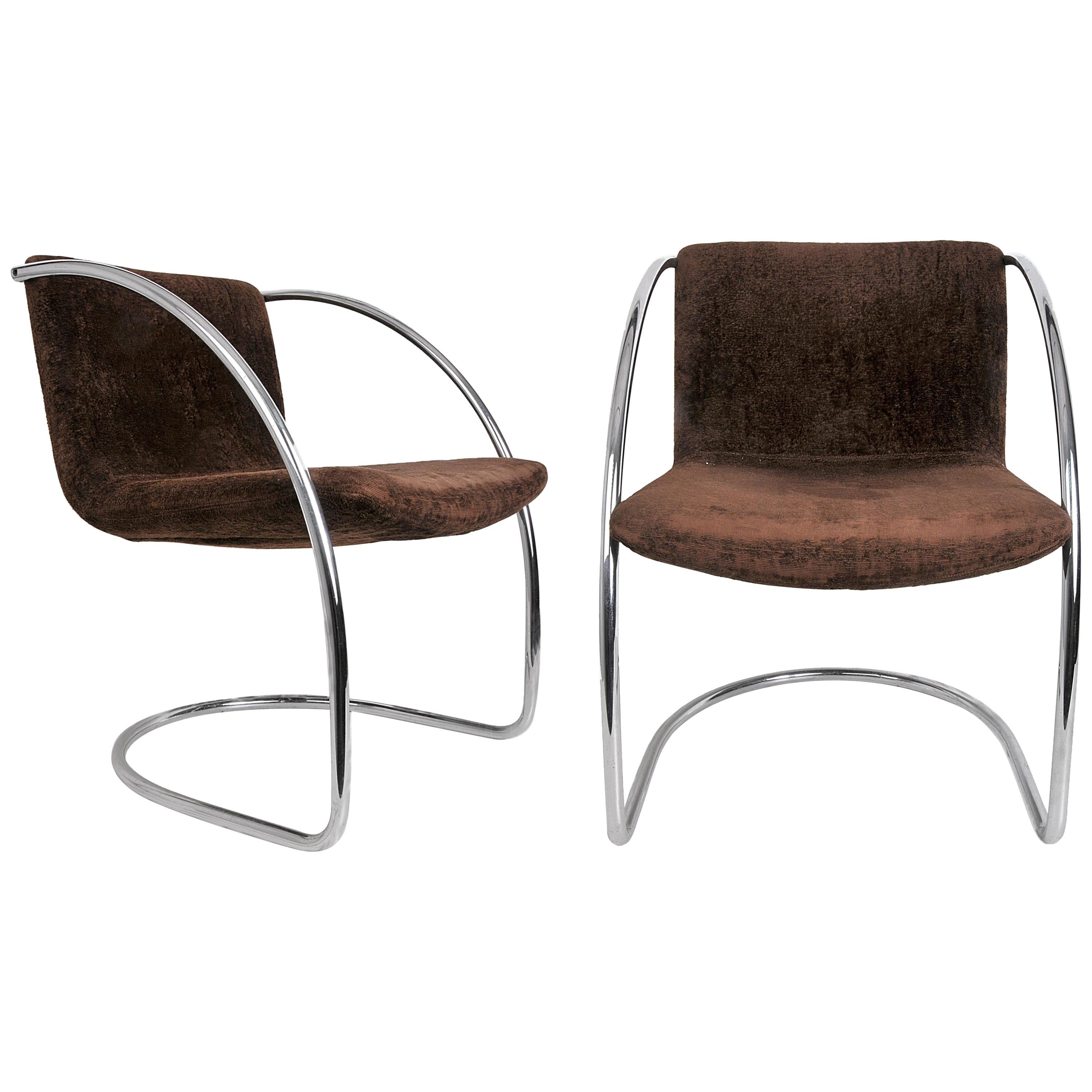 """Giovanni Offredi Brown Fabric and Steel """"Lens"""" Chair for Saporiti, Italy, 1960s"""
