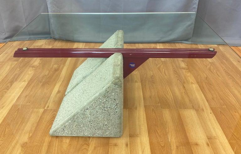 Metal Giovanni Offredi designed Concrete Coffee Table for Saporiti Italia  For Sale