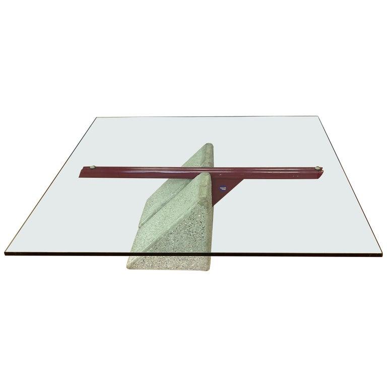 Giovanni Offredi designed Concrete Coffee Table for Saporiti Italia  For Sale