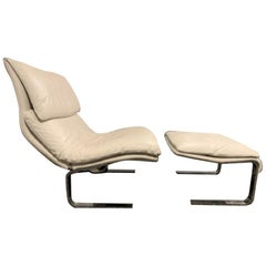 "Giovanni Offredi for Saporiti ""Onda"" Wave Leather Lounge Chair and Ottoman"