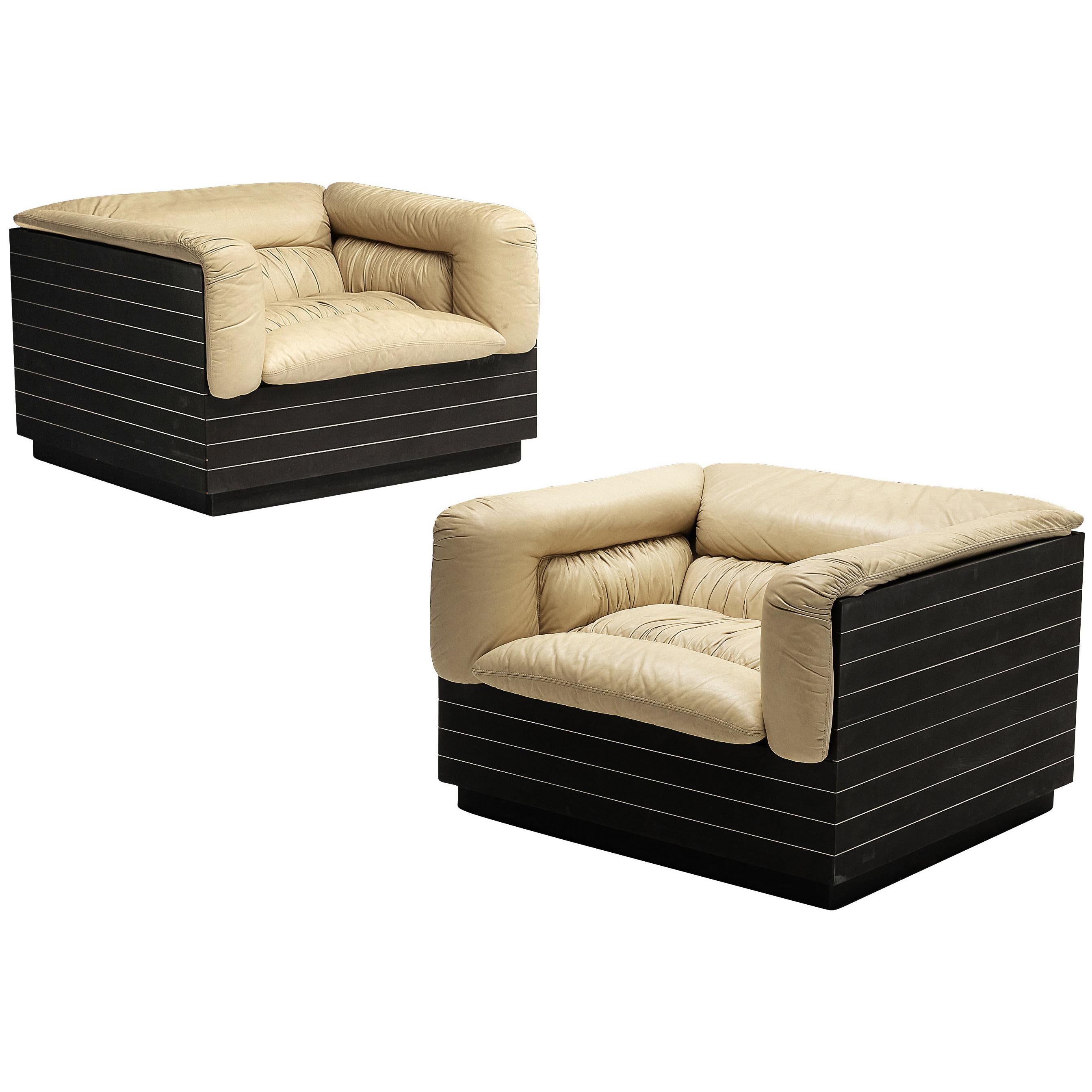 Giovanni Offredi for Saporiti Pair of Lounge Chairs in Leather
