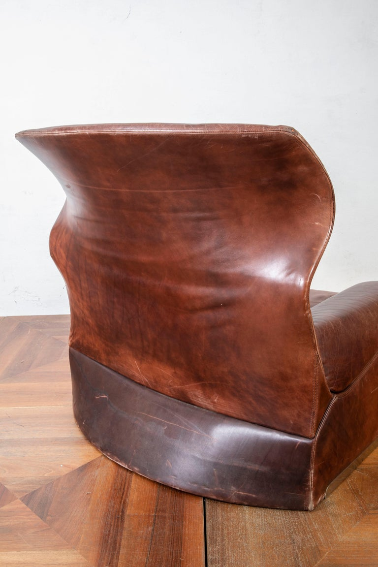 Steel Giovanni Offredi Italian Cognac Leather Lounge Chair with Footstool for Saporiti For Sale