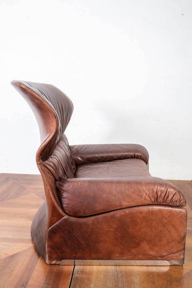 Giovanni Offredi Italian Cognac Leather Lounge Chair with Footstool for Saporiti For Sale 1