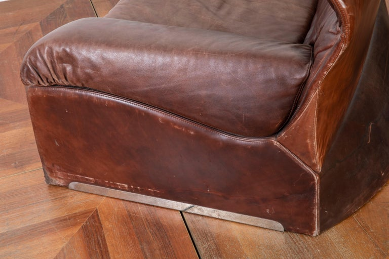 Giovanni Offredi Italian Cognac Leather Lounge Chair with Footstool for Saporiti For Sale 2