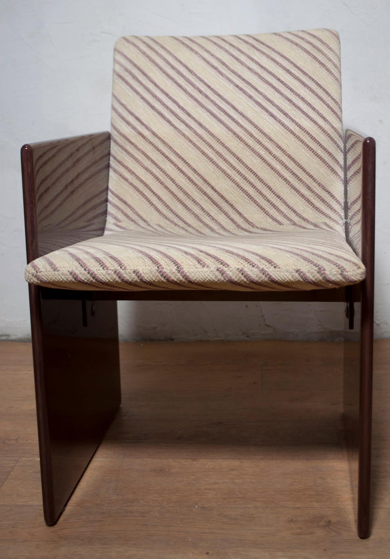 Giovanni Offredi Italian Dining Chairs Missoni Fabric by Saporiti, 1970s For Sale 5