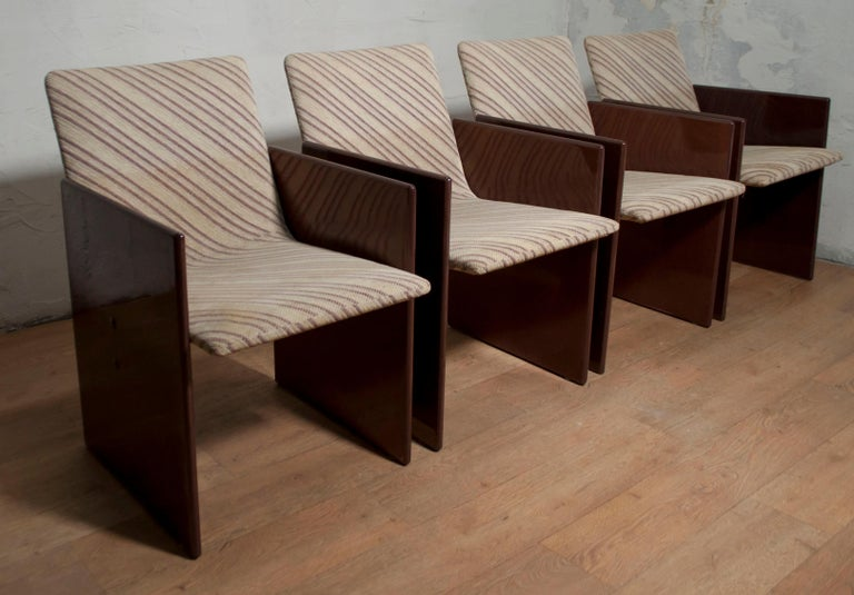 Modern Giovanni Offredi Italian Dining Chairs Missoni Fabric by Saporiti, 1970s For Sale